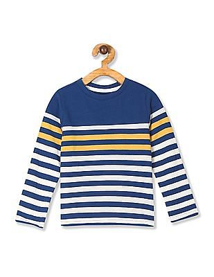 Cherokee Blue Boys Long Sleeve Striped T-Shirt