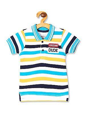 Donuts Boys Striped Pique Polo Shirt