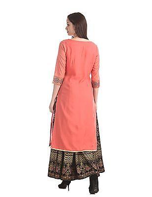 Karigari Pink Printed Sleeve Woven Kurta