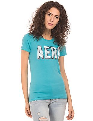 Aeropostale Sequin Branding Regular Fit T-Shirt