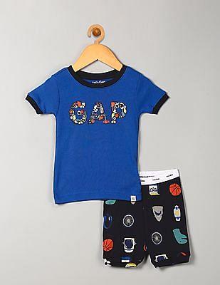 GAP Baby Blue Sporty Logo Short Sleep Set
