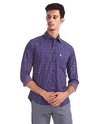 U.S. Polo Assn. Blue Tailored Regular Fit Printed Shirt