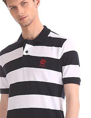 U.S. Polo Assn. Navy And White Striped Pique Polo Shirt