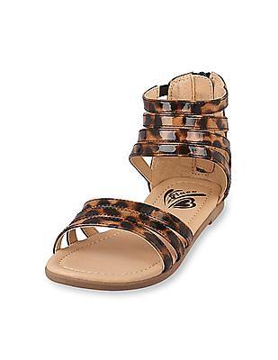 The Children's Place Girls Leopard Gladiator Zahara Sandal