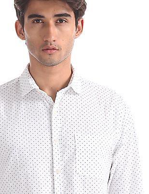 Ruggers White Regular Fit Cotton Shirt