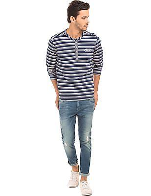 Ed Hardy Regular Fit Striped Henley T-Shirt