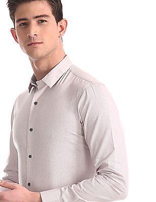 Arrow Newyork Pink Spread Collar Patterned Shirt
