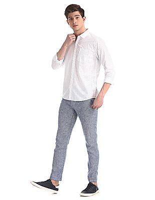 Ruggers White Printed Cotton Shirt