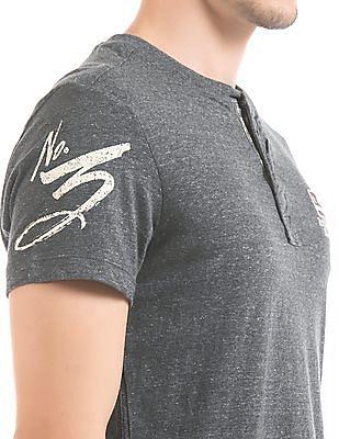 U.S. Polo Assn. Denim Co. Melange Muscle Fit Henley T-Shirt