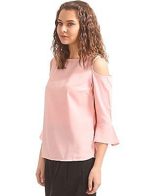 Elle Studio Bell Sleeve Cold Shoulder Top