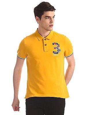 U.S. Polo Assn. Denim Co. Yellow Tipped Sleeve Hem Pique Polo Shirt