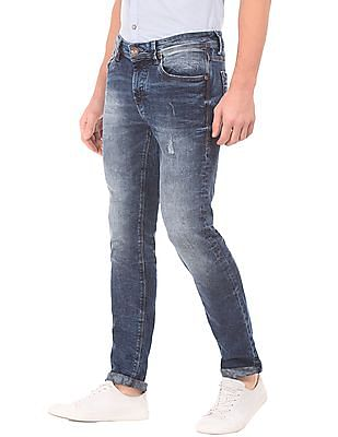 Flying Machine Crinkled Wash Slim Tapered Fit Jeans