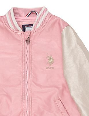 U.S. Polo Assn. Kids Girls Colour Blocked Bomber Jacket