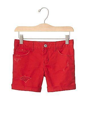 GAP Girls Red 1969 Destructed Denim Midi Shorts