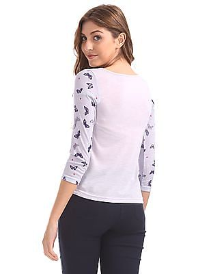 SUGR Floral Print Round Neck Top