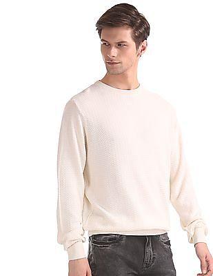 Ruggers White Crew Neck Textured Sweater