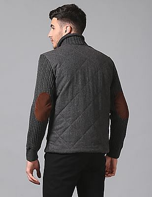 True Blue Slim Fit Woollen Quilted Jacket