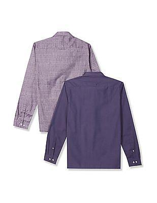 Excalibur Mitered Cuff Semi Cutaway Collar Shirt -  Pack Of 2