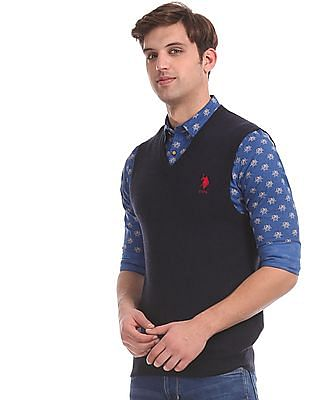U.S. Polo Assn. Blue V-Neck Sweater Vest