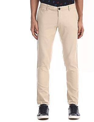 Ruggers Beige Tapered Fit Textured Trousers