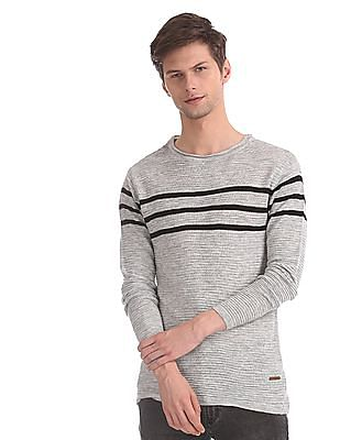 Cherokee Grey Round Neck Striped Sweater