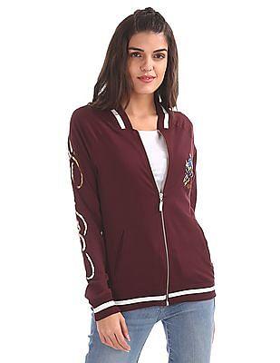 EdHardy Women Varsity Style Bomber Jacket