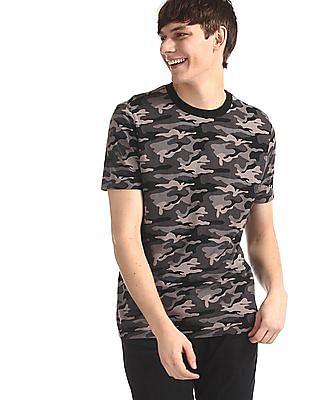 Aeropostale Grey Crew Neck Camo Print T-Shirt