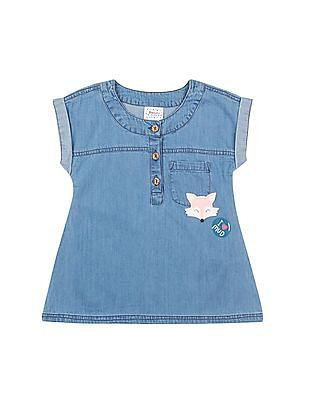 Donuts Girls Washed Chambray A-Line Dress