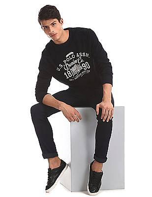 U.S. Polo Assn. Black Crew Neck Brand Print Sweatshirt