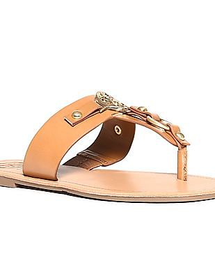 GUESS Metallic Accent Leather Sandals