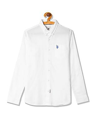 U.S. Polo Assn. Kids Boys Button Down Collar Solid Shirt
