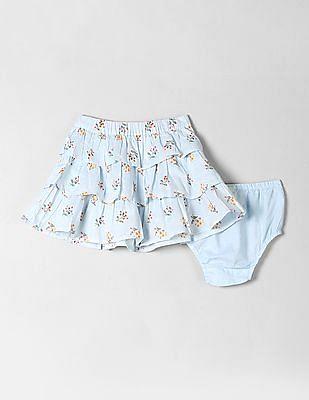 GAP Baby Blue Floral Print Ruffled A-Line Skirt