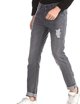 Colt Grey Skinny Fit Distressed Jeans