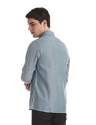 Arrow Green Mitered Cuff Tonal Pattern Shirt