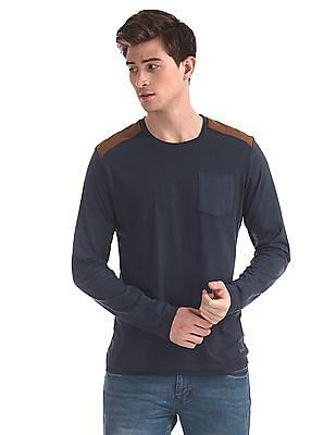 Cherokee Blue Shoulder Panel Patch Pocket T-Shirt