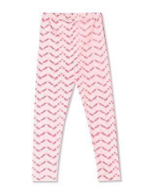 Cherokee Pink Girls Chevron Print Cotton Stretch Leggings