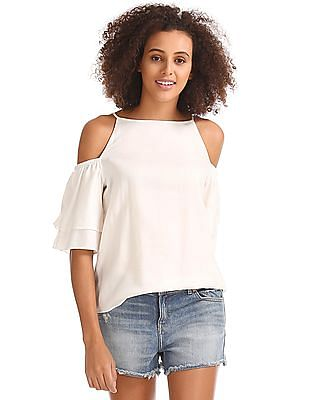 GAP Cold Shoulder Ruffle Sleeve Top