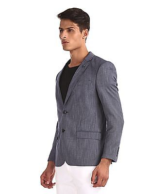 Arrow Blue Notch Lapel Collar Patterned Blazer