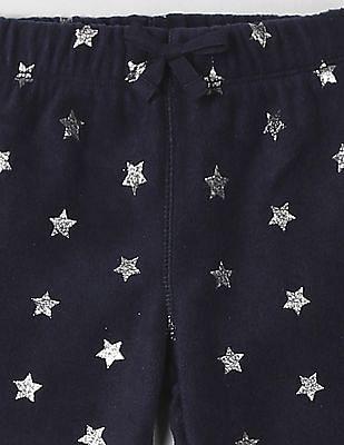 GAP Toddler Girl Blue Sparkle Print Pants In Fleece