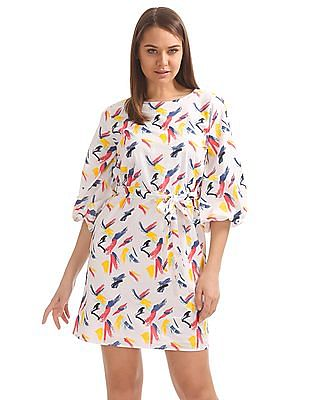 SUGR Abstract Print Belted Dress