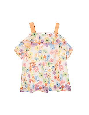 Donuts Girls Floral Print Shift Dress