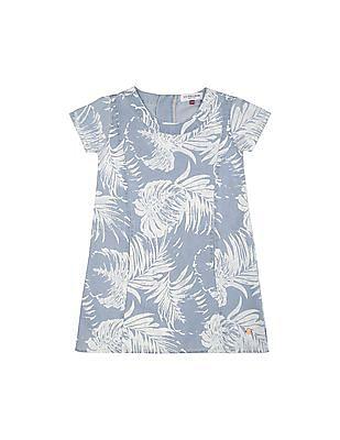 U.S. Polo Assn. Kids Girls Leaf Print Chambray A-Line Dress