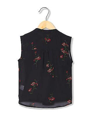 Cherokee Girls Floral Print Tie Hem Top