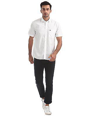 Arrow Sports Solid Cotton Linen Shirt