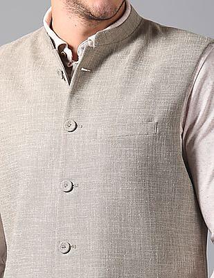 True Blue Slim Fit Patterned Weave Bandi