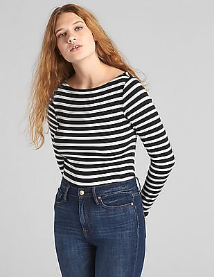 GAP Modern Stripe Long Sleeve Boatneck T-Shirt