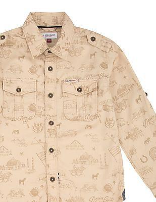 U.S. Polo Assn. Kids Boys Brand Print Cotton Shirt