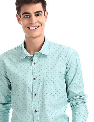 Ruggers Green Spread Collar Printed Shirt