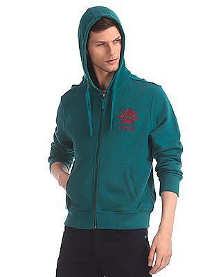 U.S. Polo Assn. Green Drawstring Hood Solid Sweatshirt