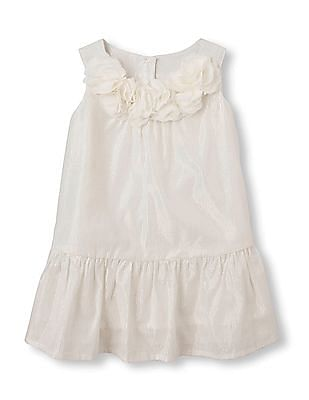 The Children's Place Baby Girl Flower Applique Flounce Dress